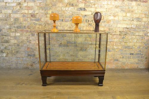 Antique Mahogany Glass Shop Display Counter Cabinet
