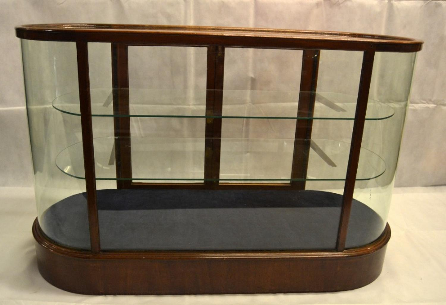 1930s Mahogany Bow Glass Shop Jeweller's Display Counter