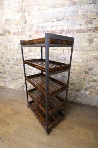 Vintage Iron and Pine Bread Trolley / Shoe Trolley