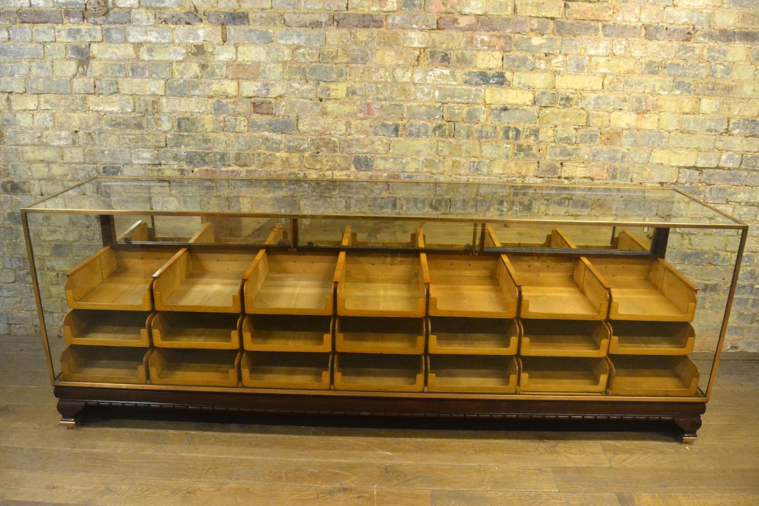 Large Mahogany Bronze Haberdashery Drapers Shop Counter With Drawers