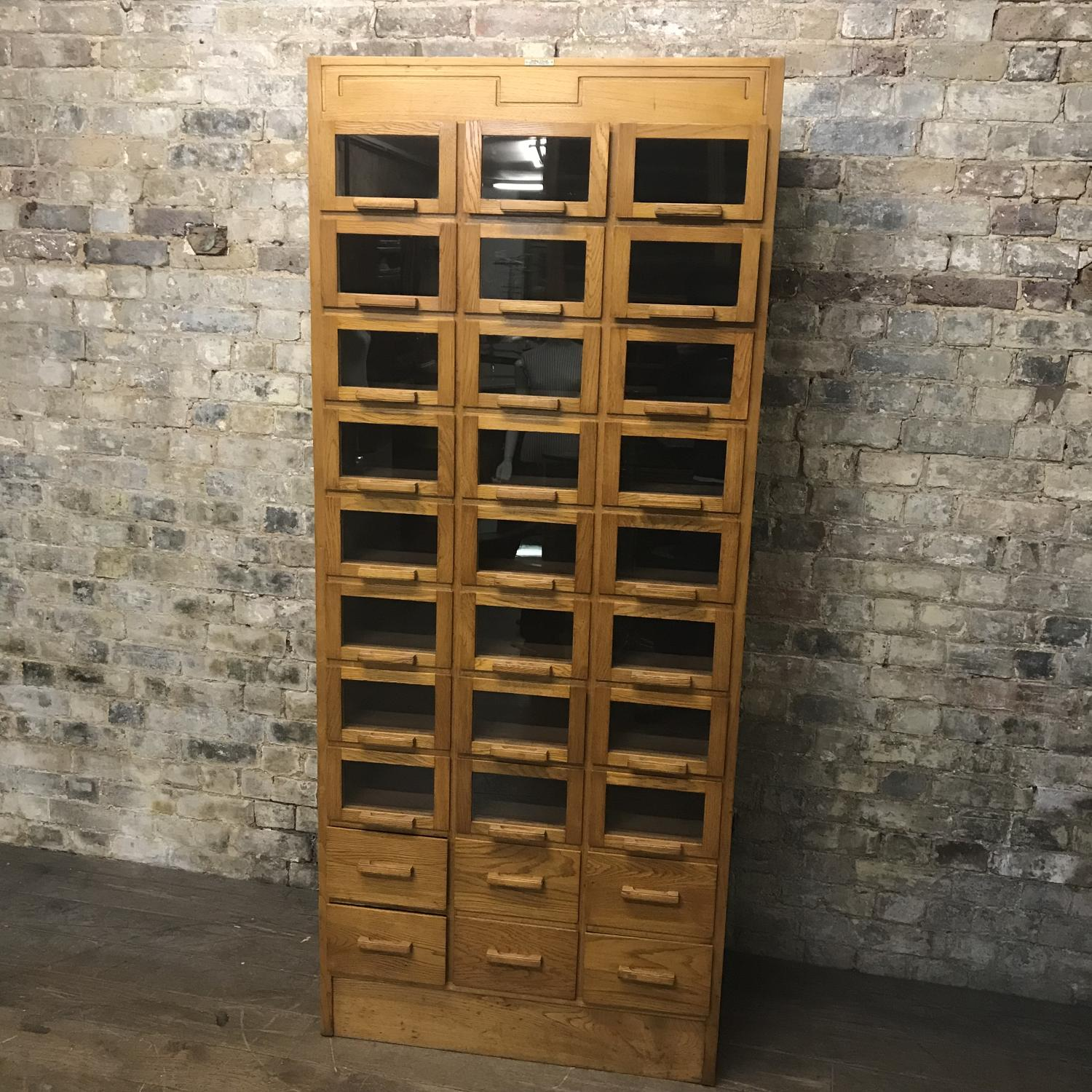 Antique Oak Dudley & co  Haberdashery Shop Display Drawers Cabinet