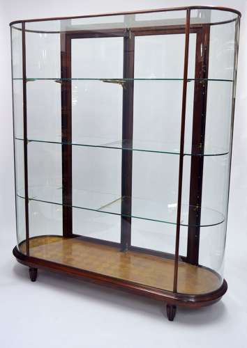 Antique style tall Double Bow Ended Mahogany Shop Display Cabinet
