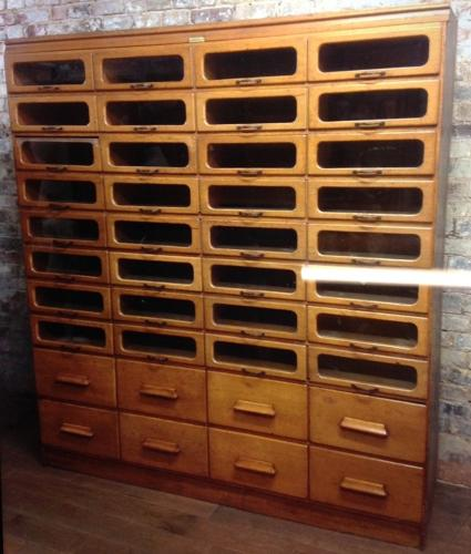 Large Oak Drapers Haberdashery Shirt Cabinet