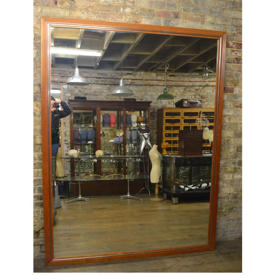 Large Walnut Shop Mirror with Chrome Inlay