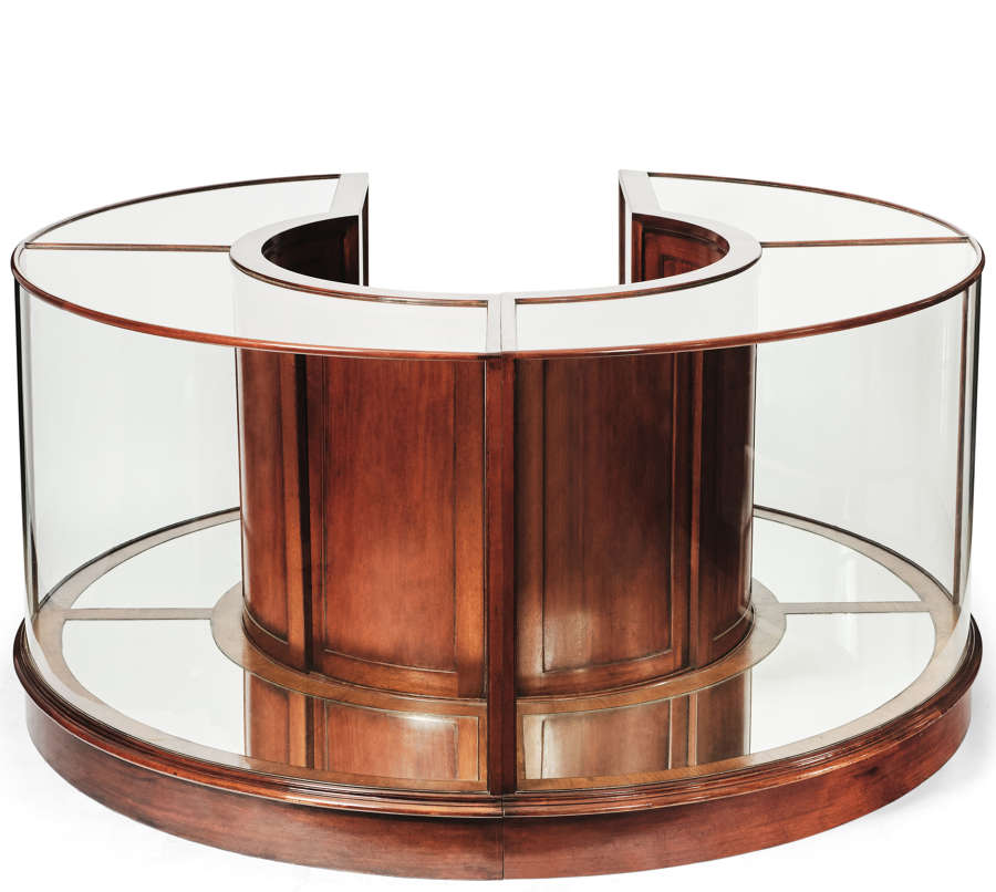 Antique Style Mahogany Round Central Display Counter