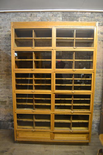 Antique Oak Haberdashery Shop Display Cabinet