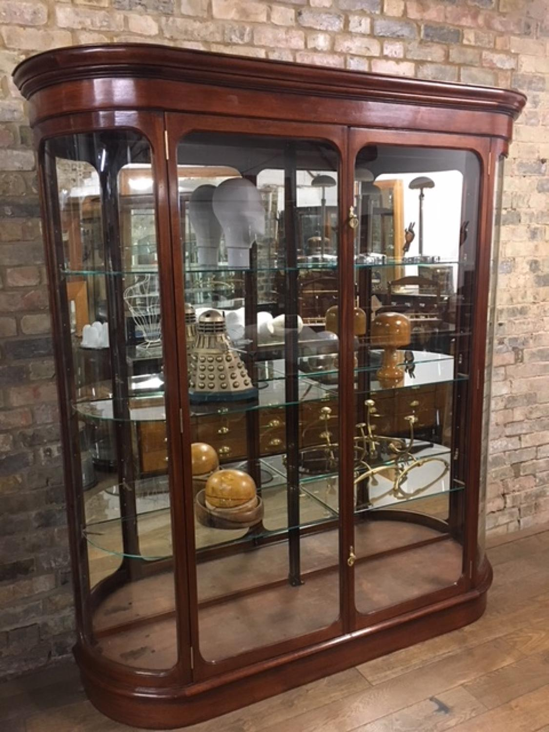 Tall Antique Style Bow Shop Display Cabinet
