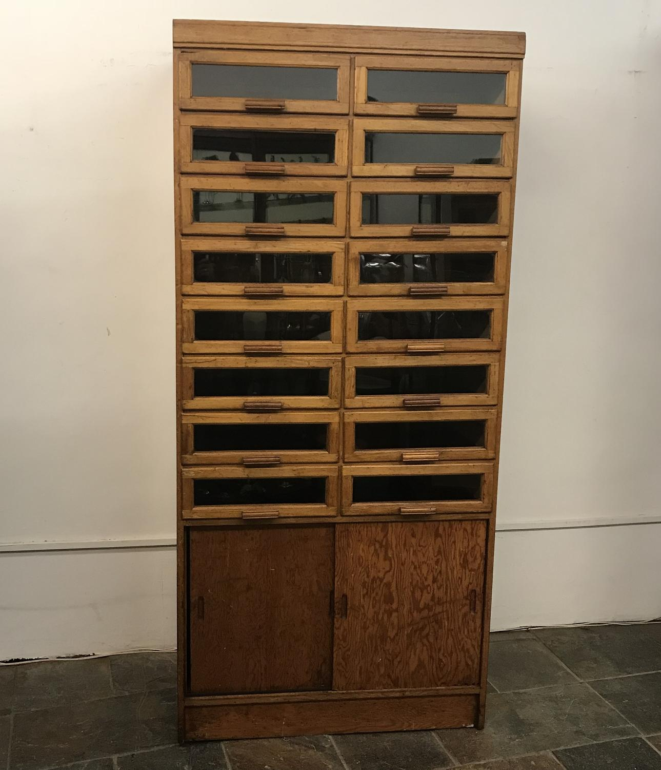Oak Haberdashery Cabinet with Sliding Doors