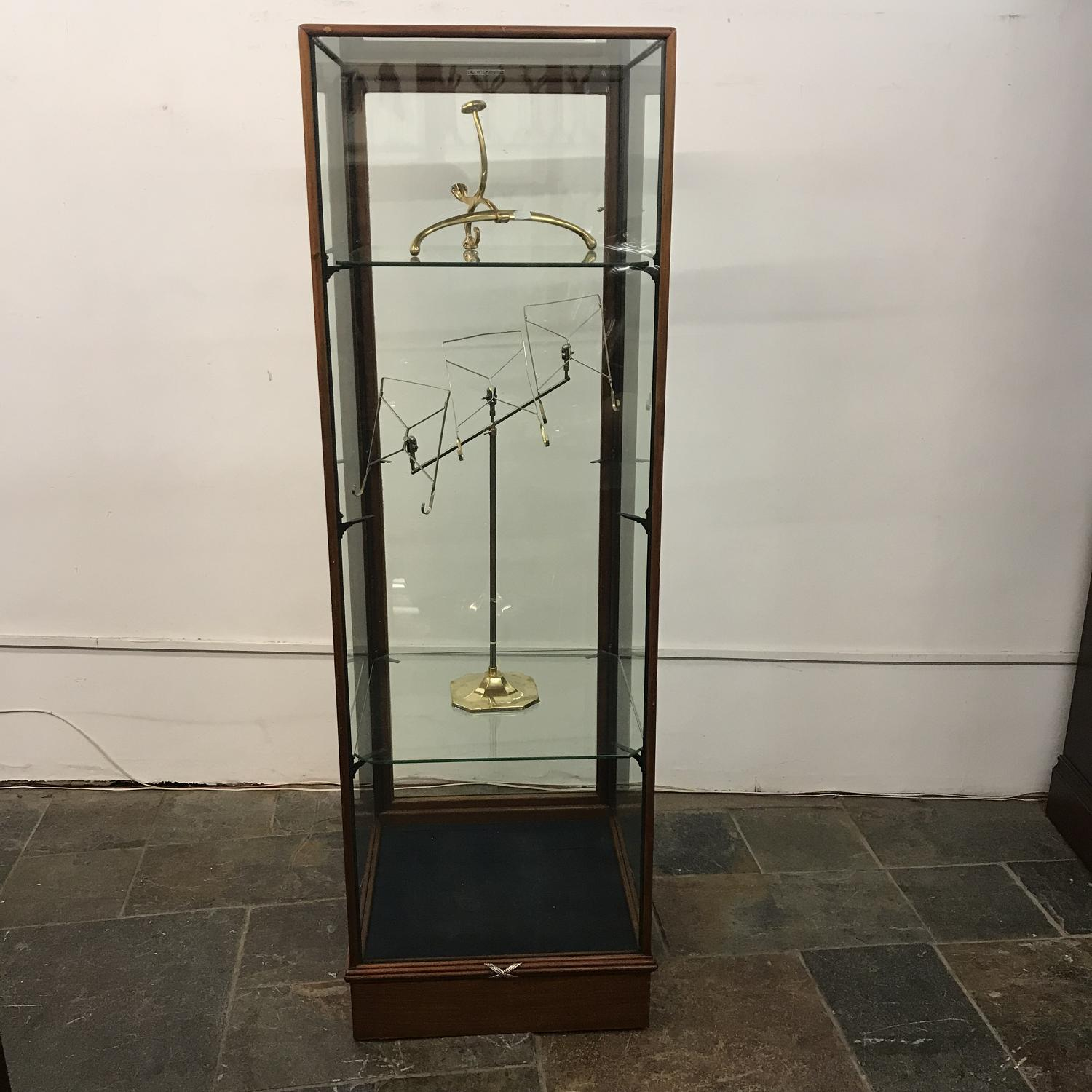 Antique Tall Glass Shop Cabinet with 3 Shelves