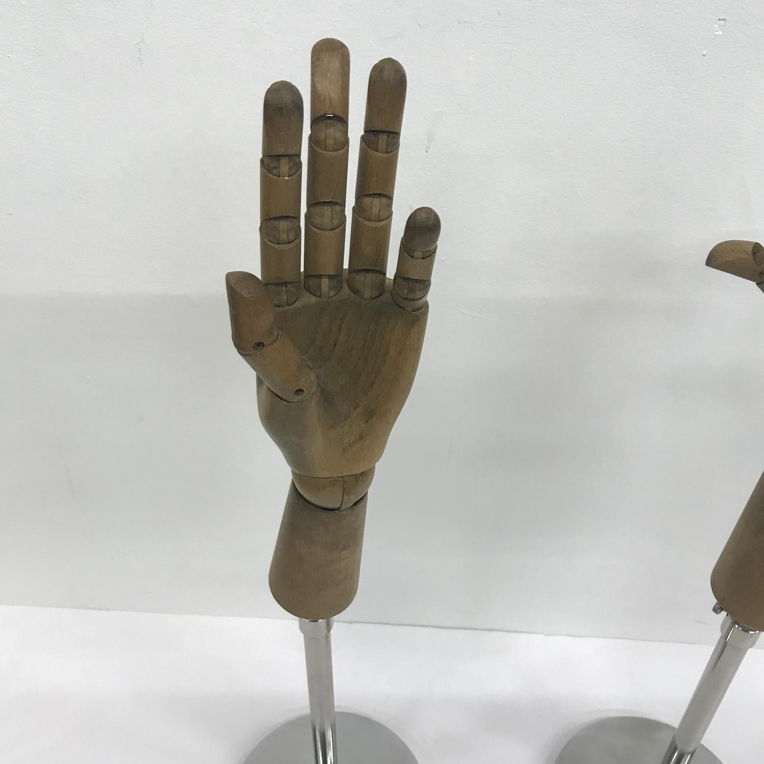 Wooden hand gloves shop display