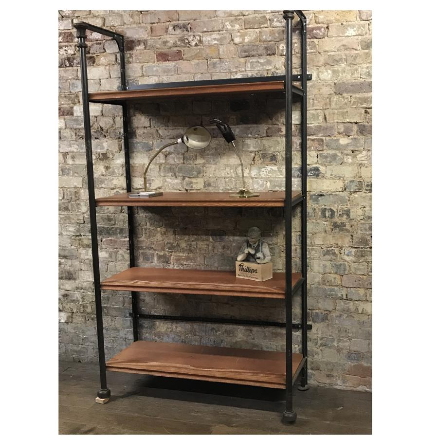 Wooden and metal Industrial shop display shelves