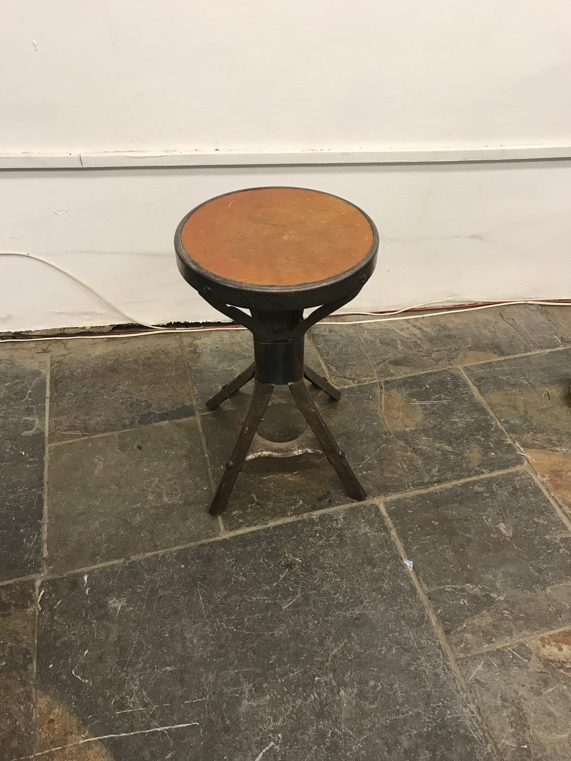 1930s industrial metal and wooden stool