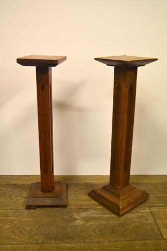 Antique oak Wooden Pedestal Display Stands