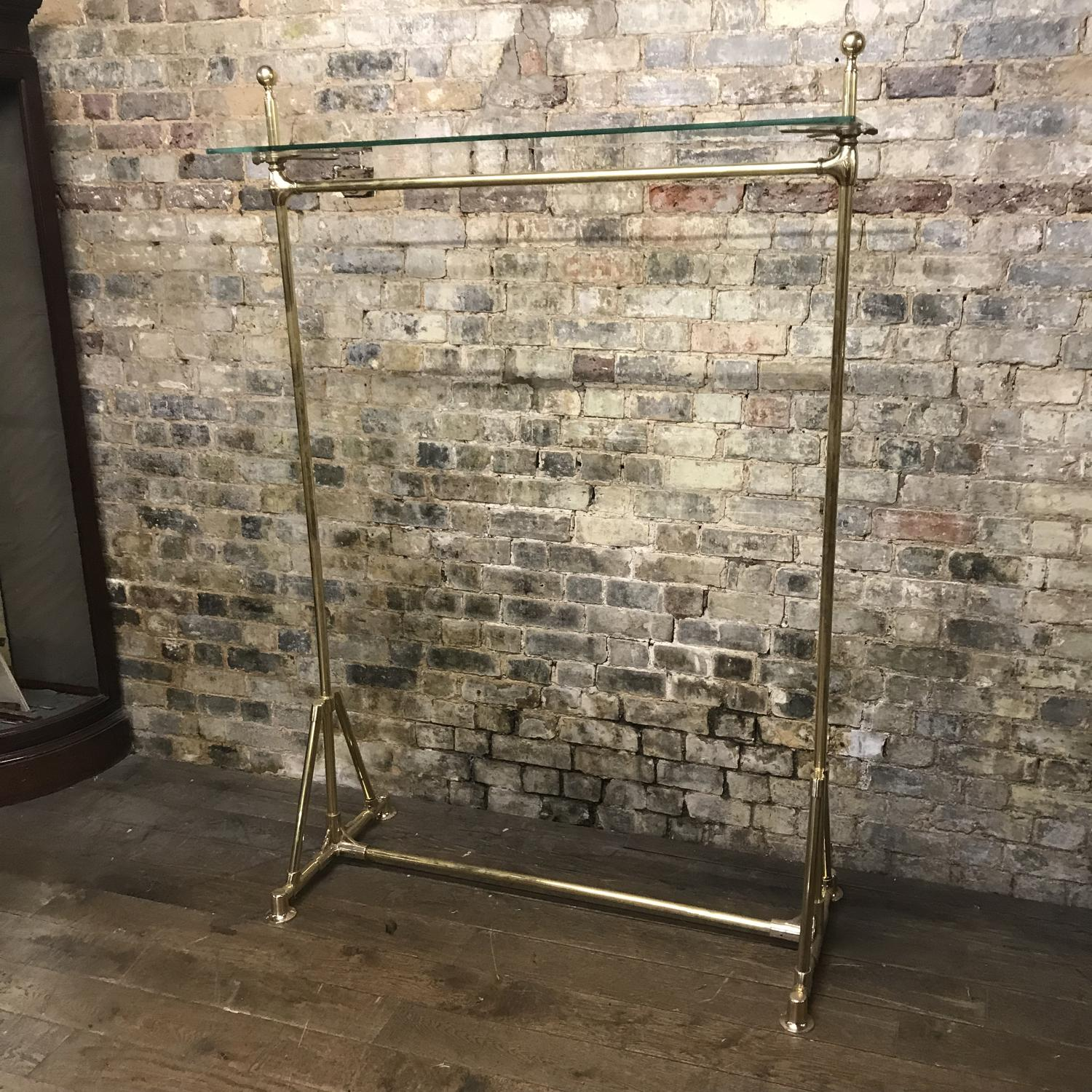 Antique style Brass Hanging Rail with Glass Shelf