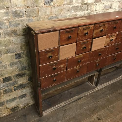 Antique shop chemist drawers