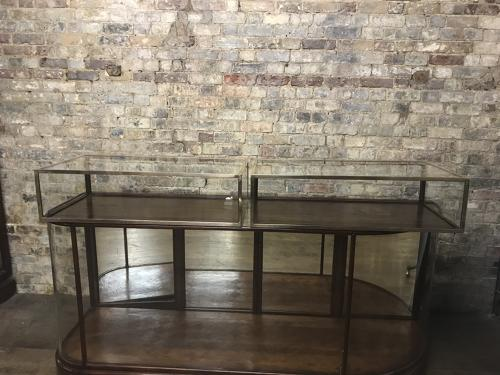 Antique brass and mahogany jewellery shop cabinet