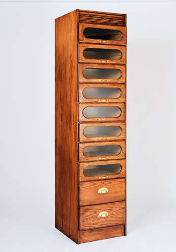 Single oak haberdashery cabinet