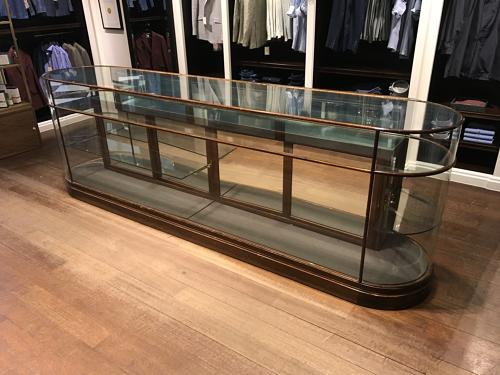 Victorian double ended bow shop counter with drawers