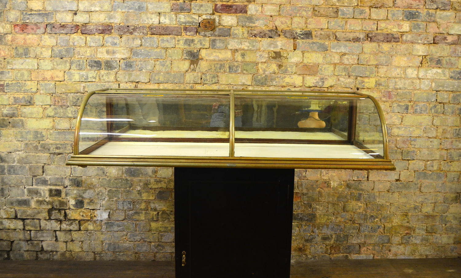 Antique Nickel bow glass counter top cabinet