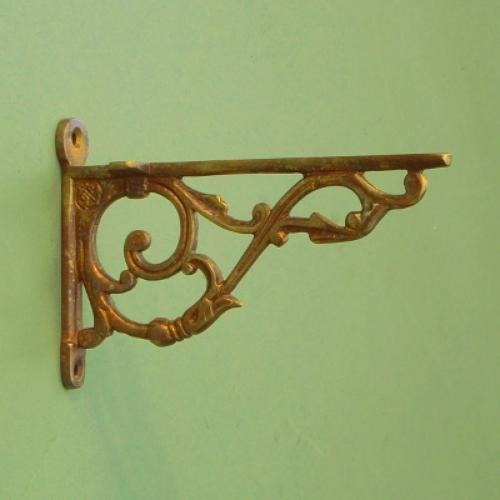 Large Aged Brass Bathroom Shelf Bracket