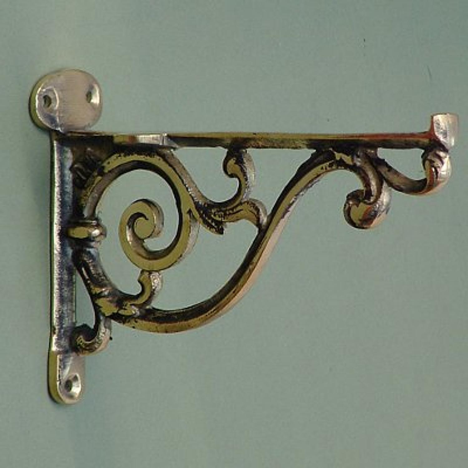 Medium Brass Scroll Bathroom Shelf Bracket