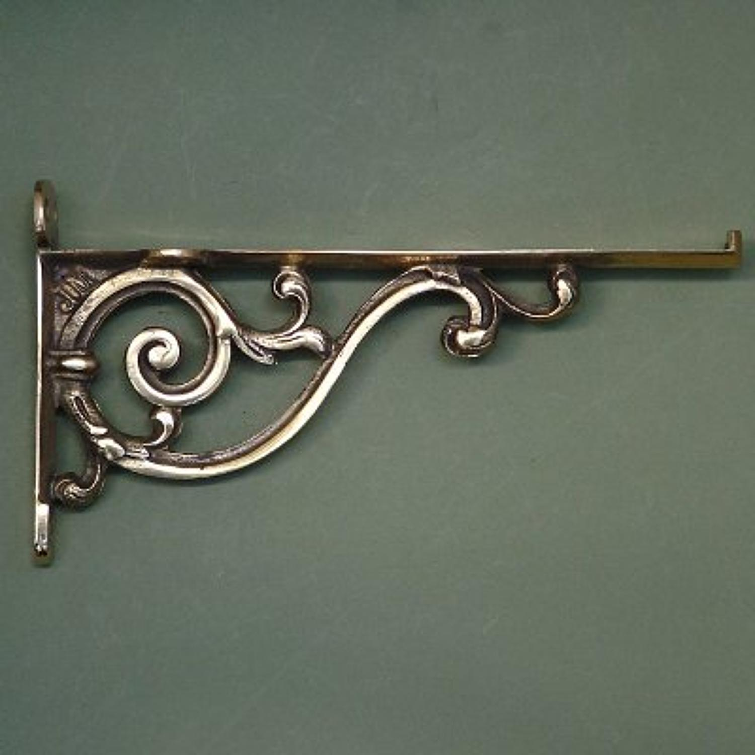 Large Brass Scroll Bathroom Shelf Bracket