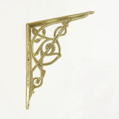 Medium Brass Trellis Shelf Bracket