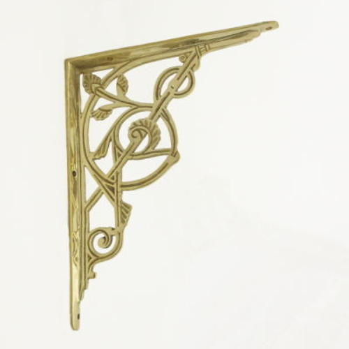 Large Brass Trellis Shelf Bracket