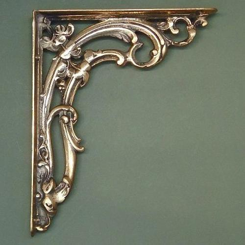 Medium Brass Victorian Scroll Leaf Shelf Bracket