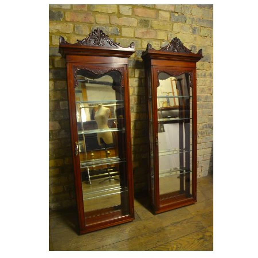 Pair of Victorian Tall Thin Mahogany Shop Display Cabinets