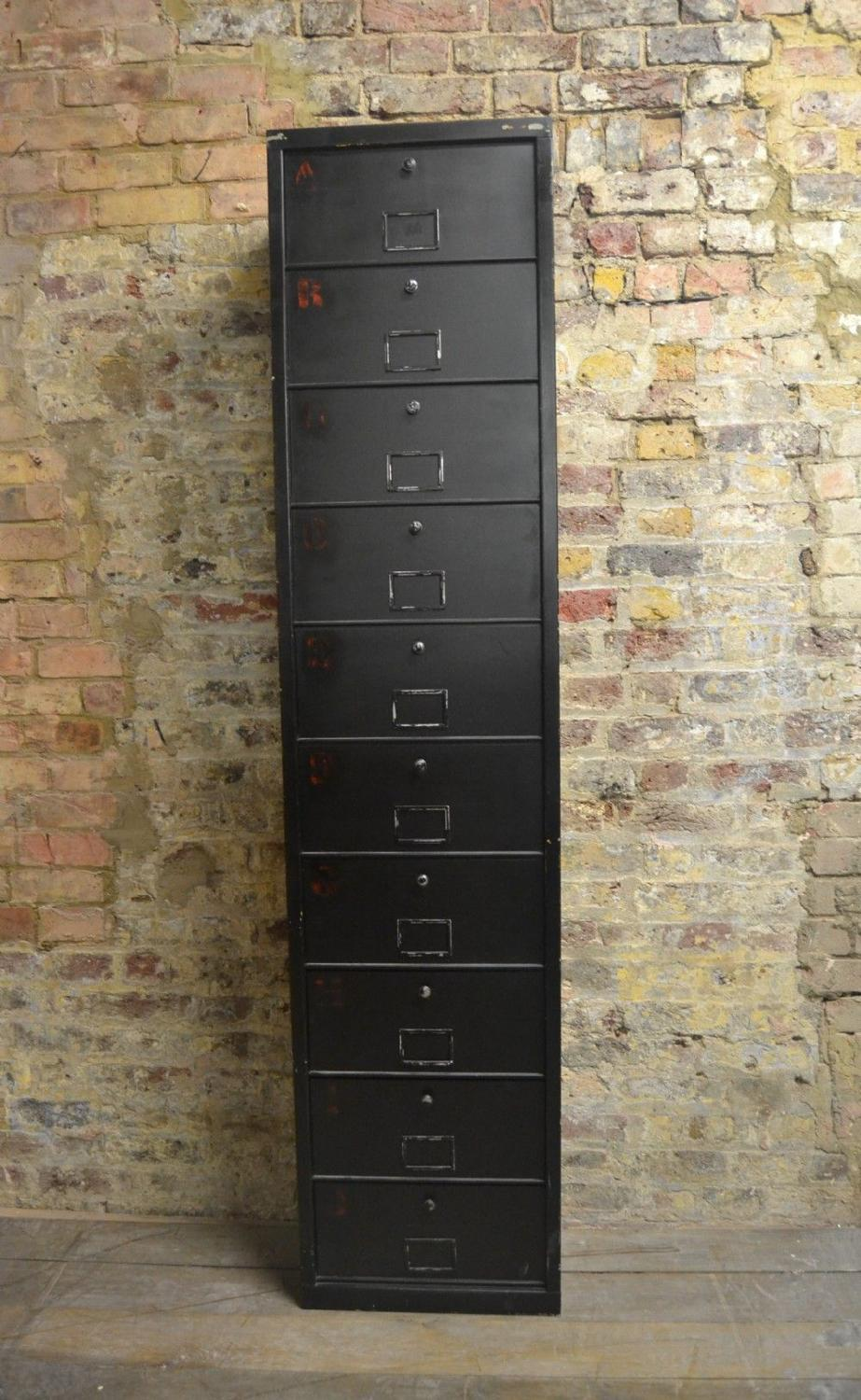 French Black Filing Cabinet
