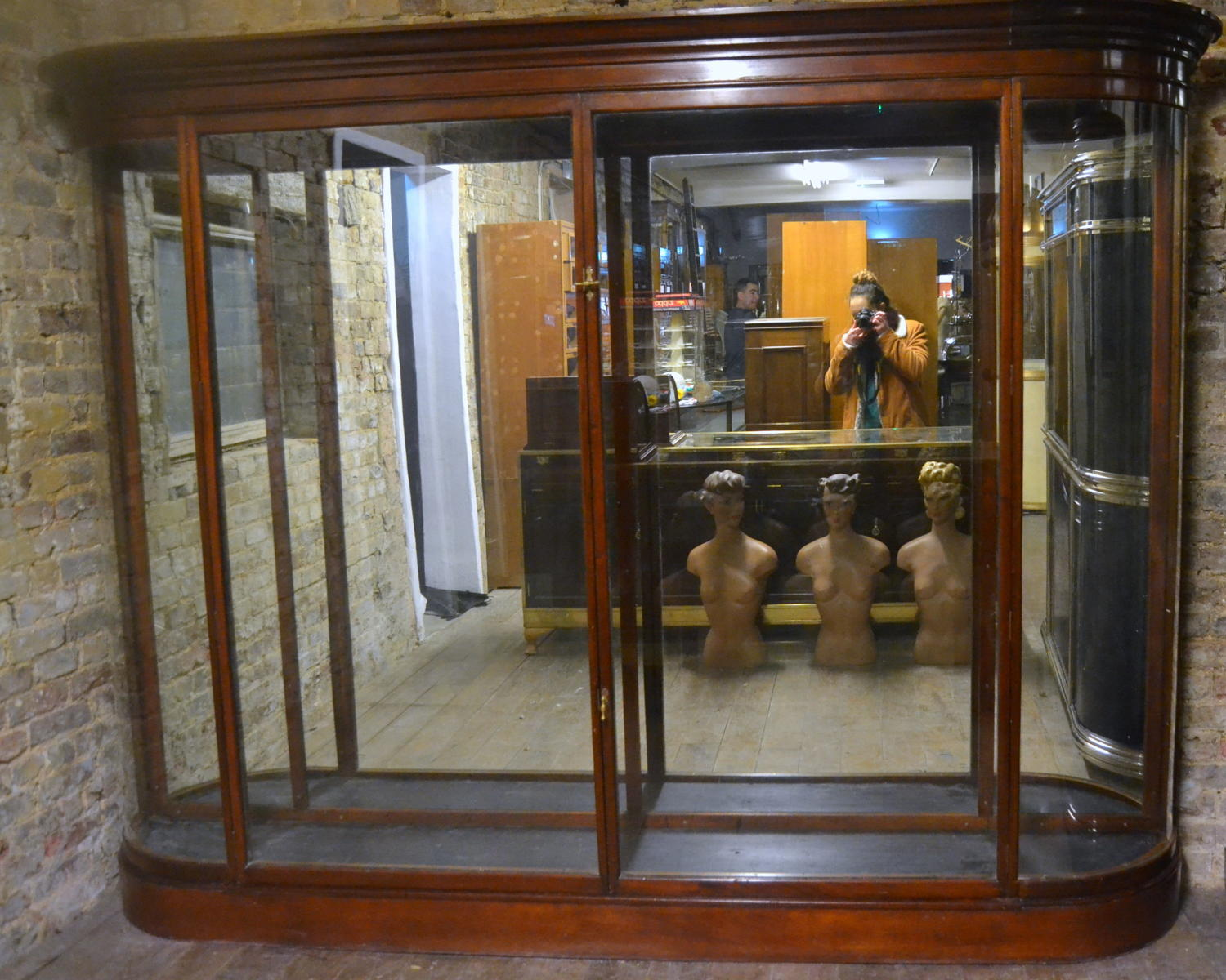 Victorian Mahogany Jeweller's Bow Display Cabinet