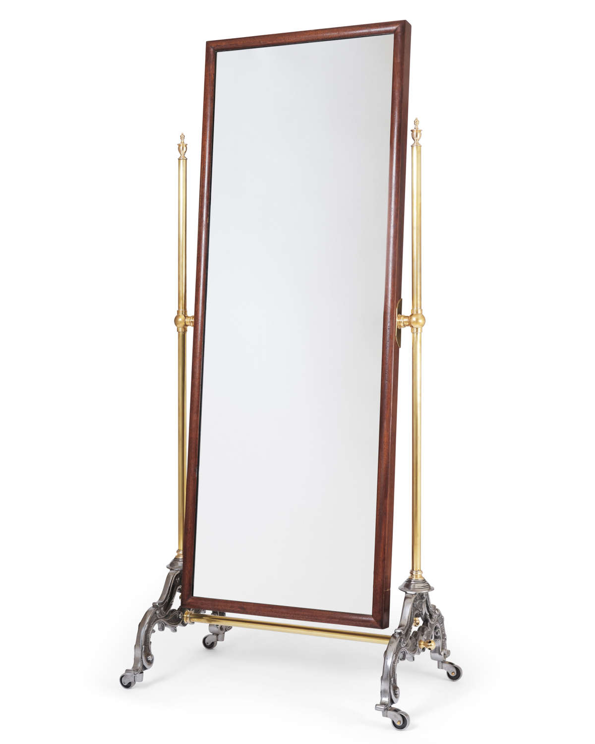 Victorian Style Brass and Mahogany Cheval Mirror
