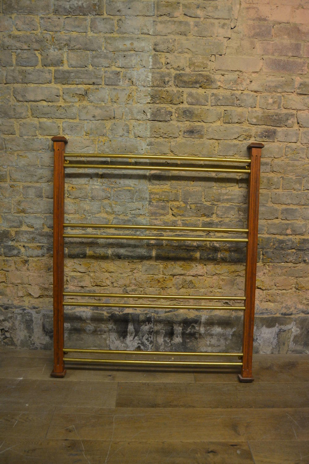 Small Brass and Mahogany Scarf Rack