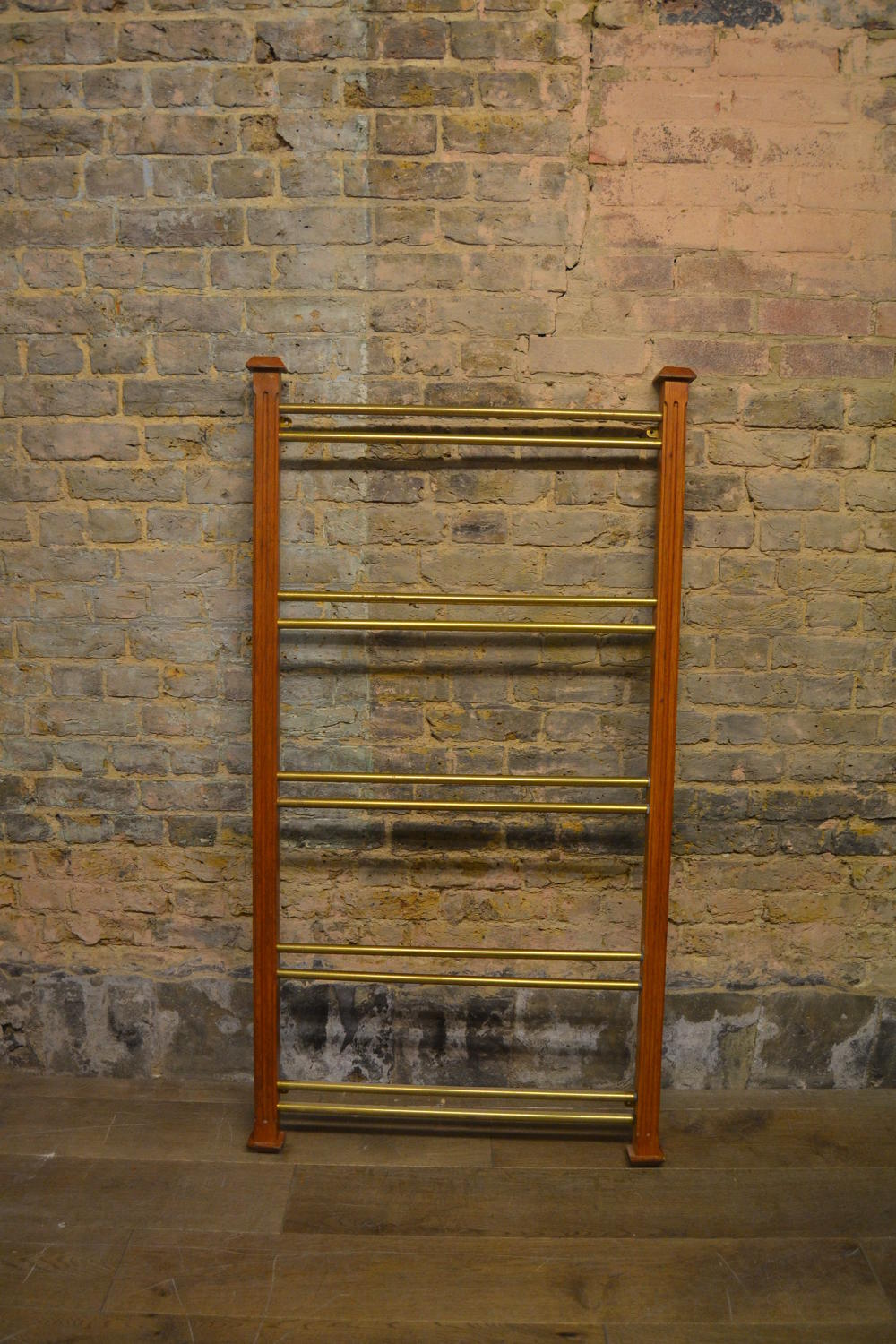 Large Brass and Mahogany Display Rack