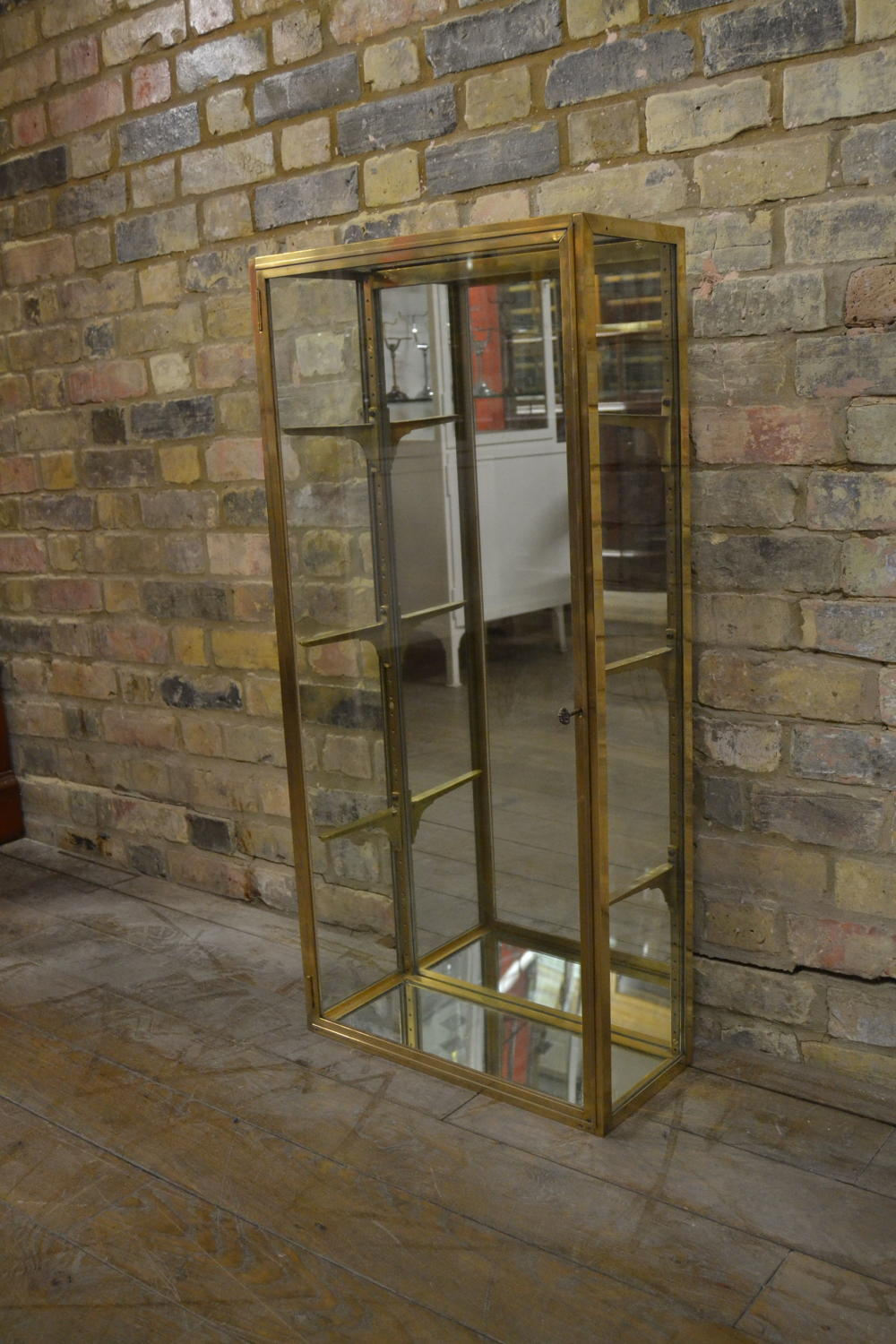 1920s Original Brass Display Cabinet