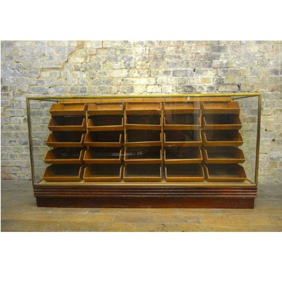 1930s Brass Haberdashery Drapers Drawers Counter