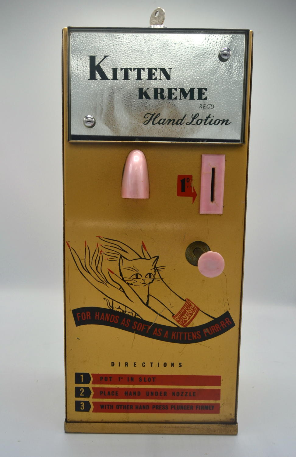 1950s Kitten Kreme Hand Lotion Dispenser