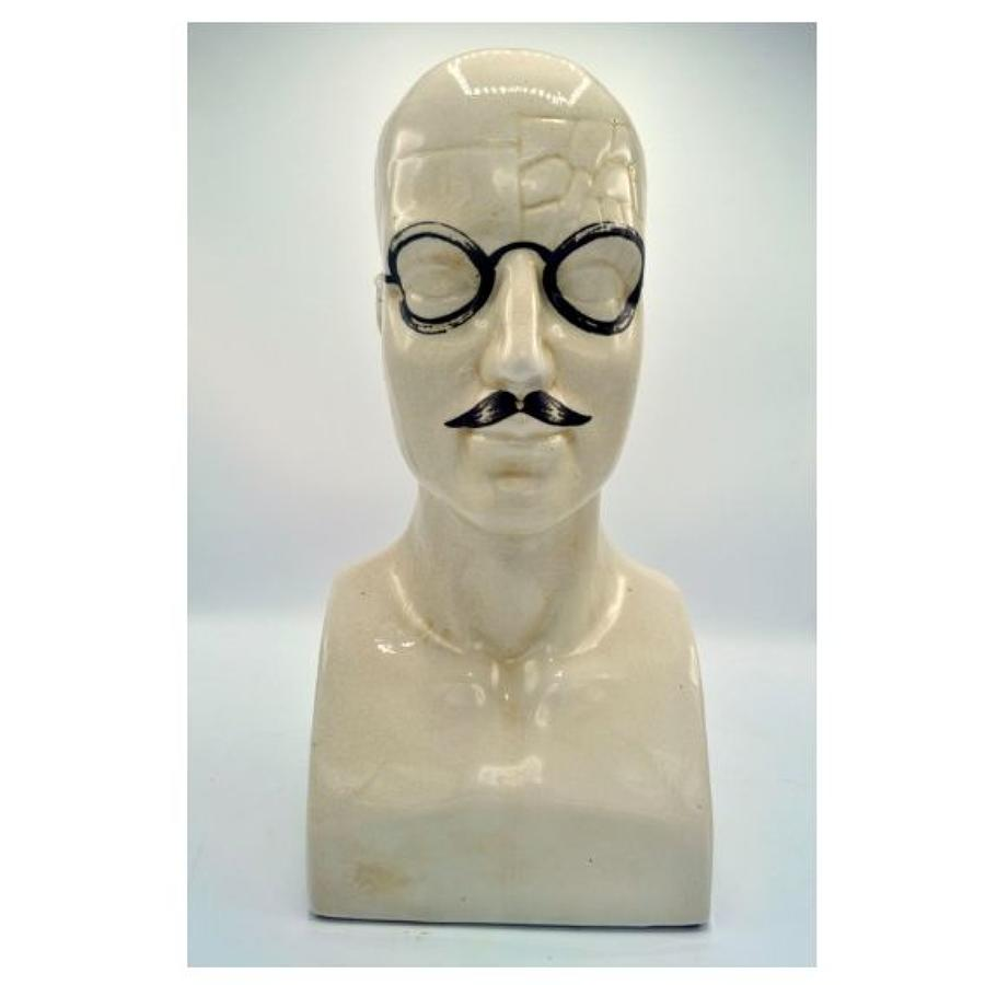 Porcelain Display Head with Spectacles