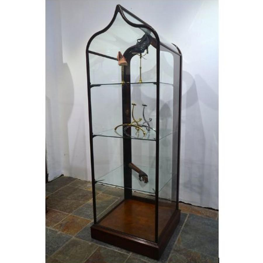 Mahogany Bow Shop Display Cabinet