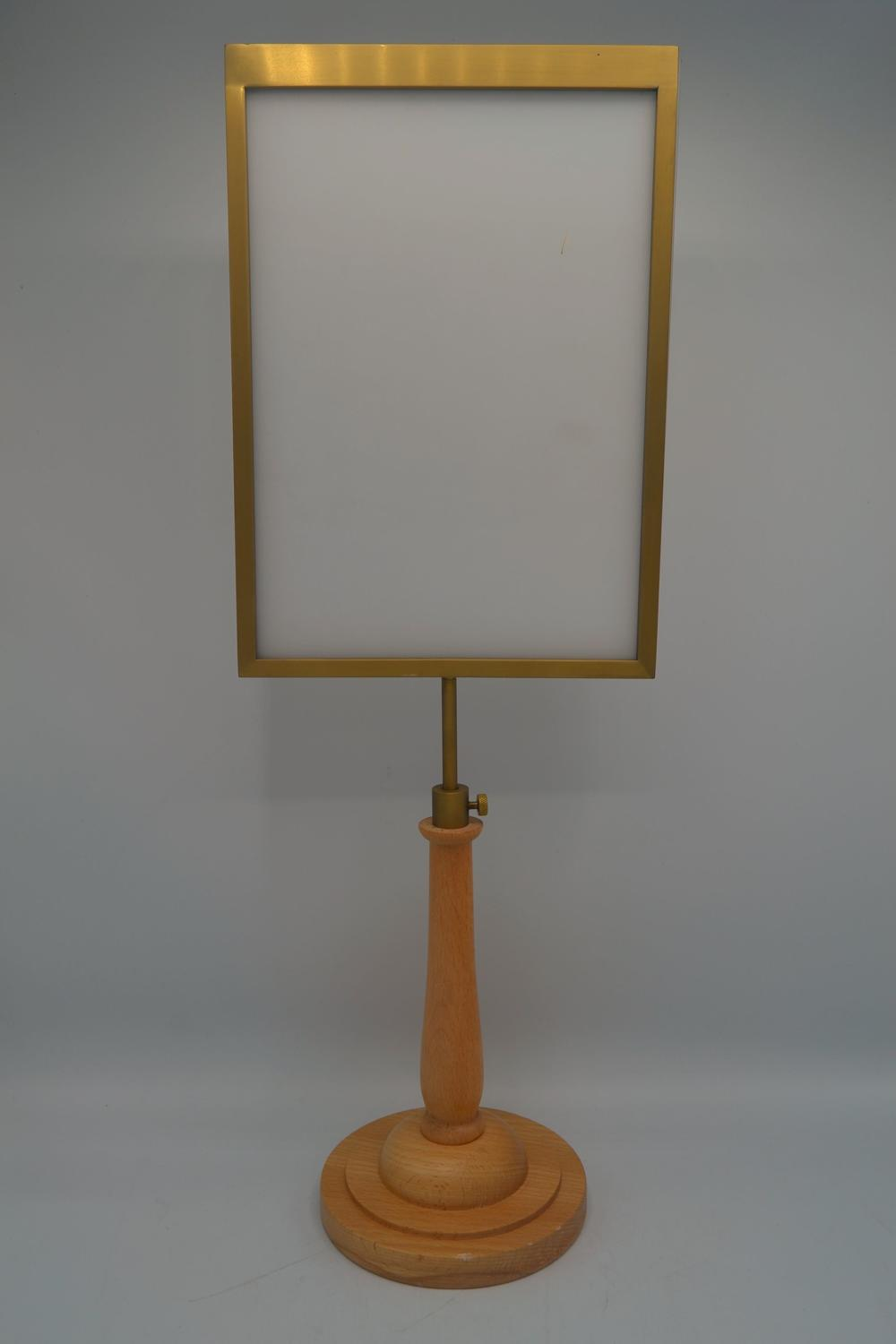 Brass Display Frame on Wooden Stand