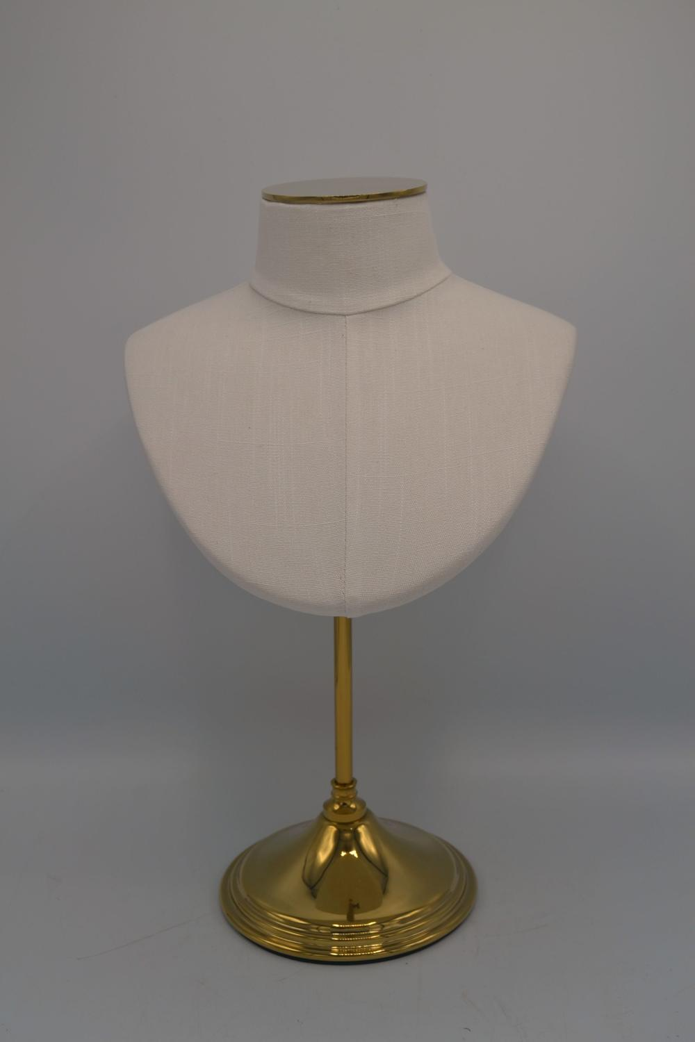 Small Fabric Jewellery Bust on Brass Stand