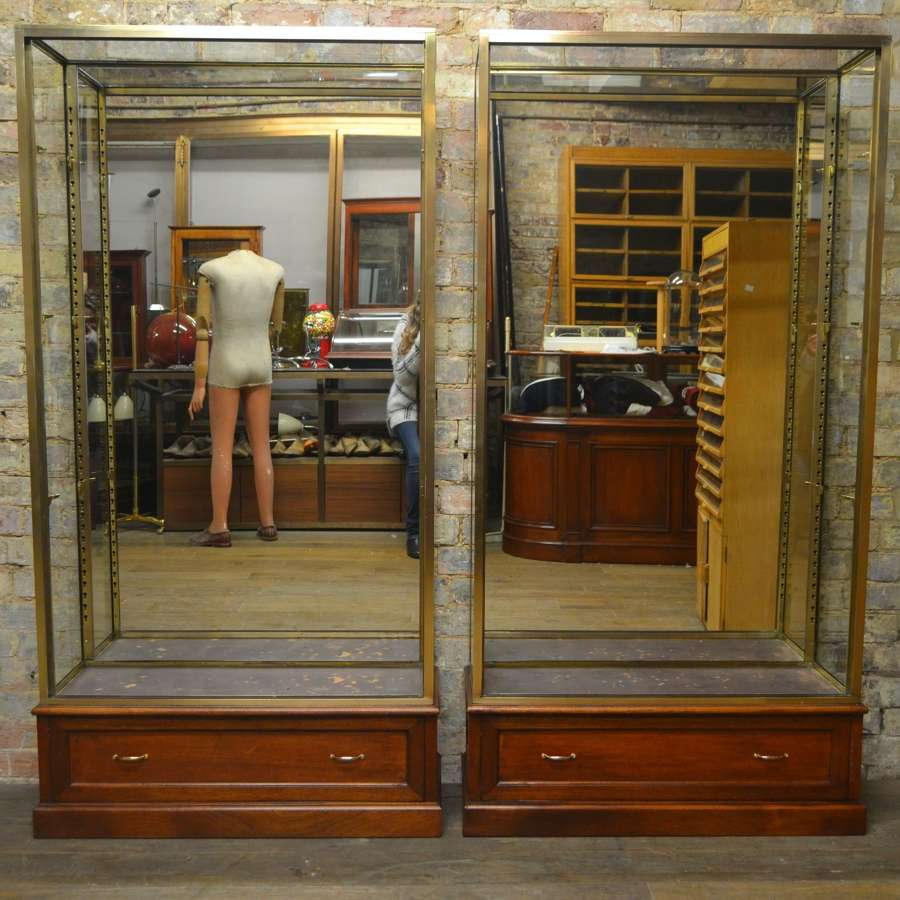 Pair of 1920s Bronze Jewellery Display Cabinets