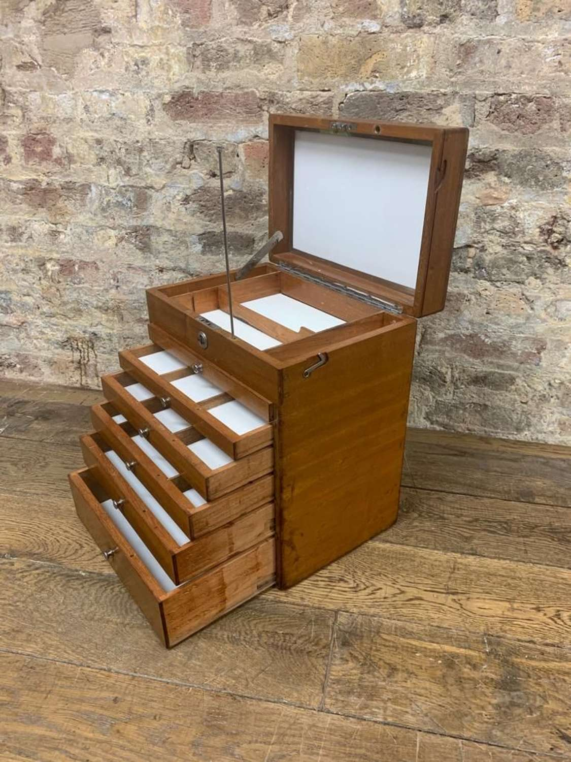 Mahogany Dentist Cabinet with Chrome Handle