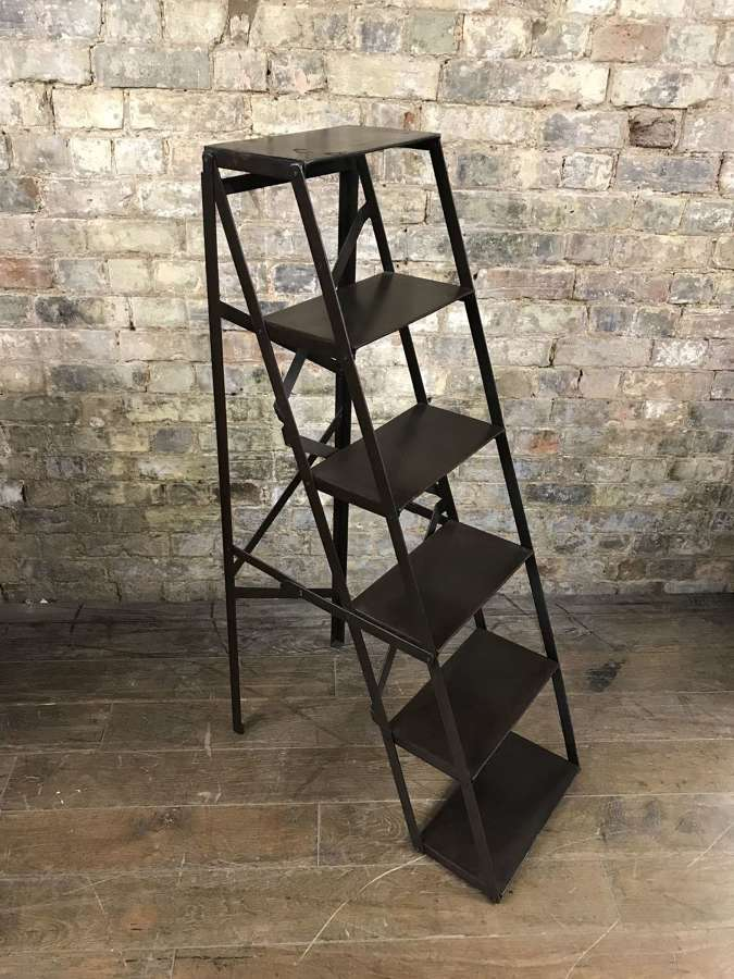 Vintage Metal Folding Step Ladder