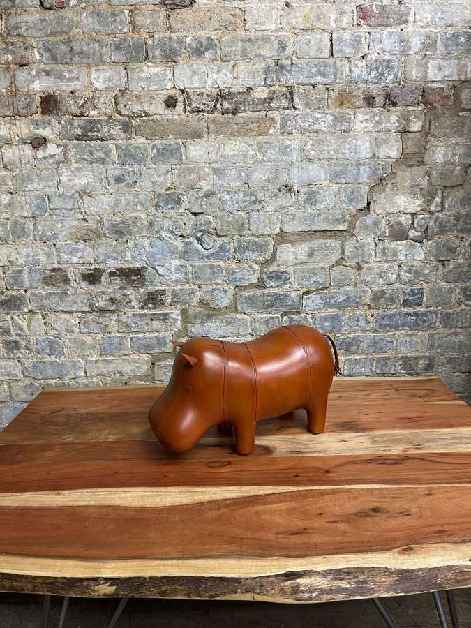 Small Leather Hippo Footstool
