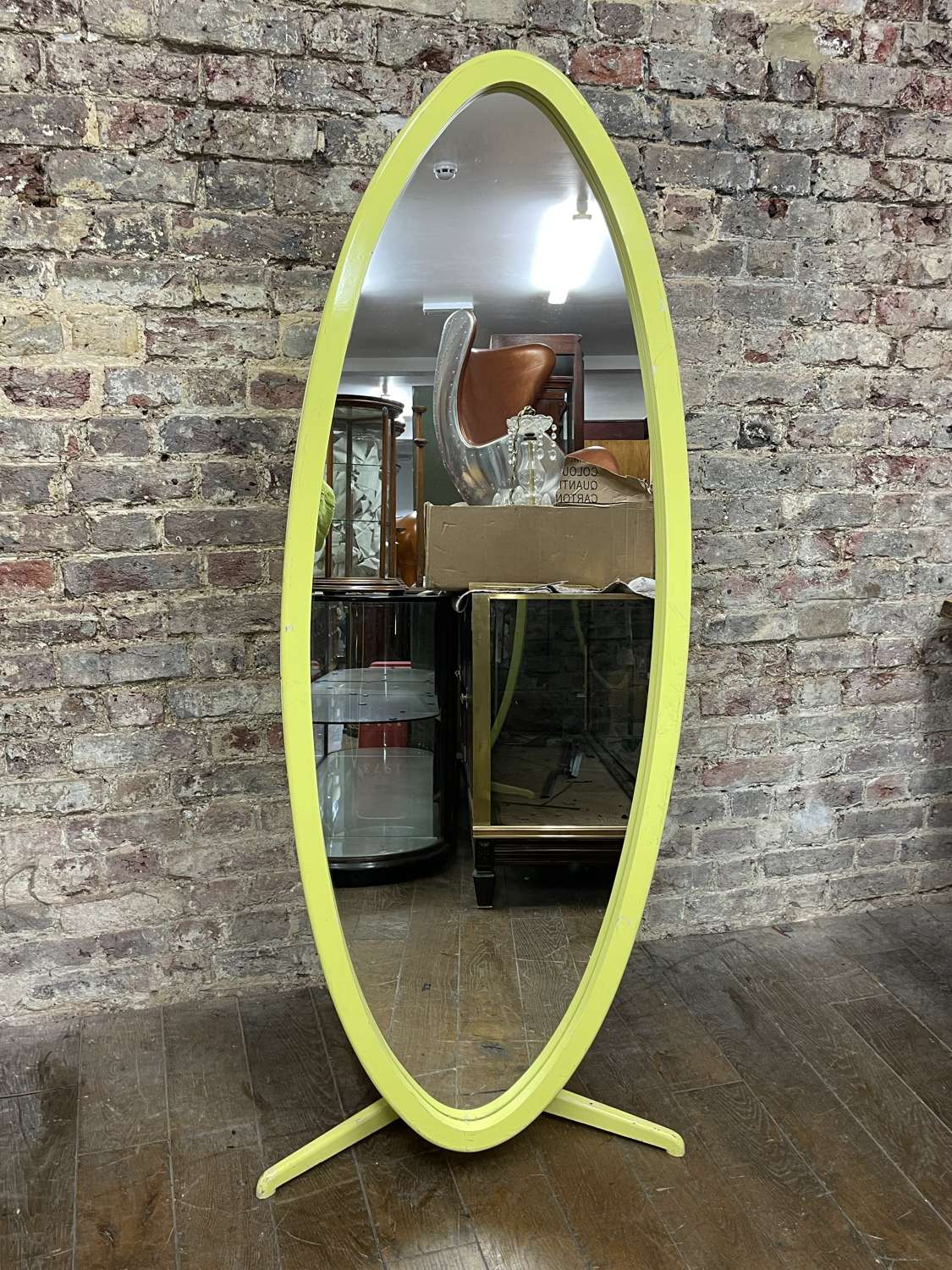 Yellow 1960's Oval Mirror